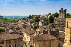 Cityscape view on Saint-Emilion, Gironde, Aquitaine, France. Saint-Emilion - one of the main red wine production areas of Bordeaux region. The town is a UNESCO stock images