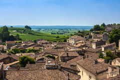 Cityscape view on Saint-Emilion, Gironde, Aquitaine, France. Saint-Emilion - one of the main red wine production areas of Bordeaux region. The town is a UNESCO royalty free stock image