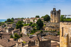 Cityscape view on Saint-Emilion, Gironde, Aquitaine, France. Saint-Emilion - one of the main red wine production areas of Bordeaux region. The town is a UNESCO stock photo