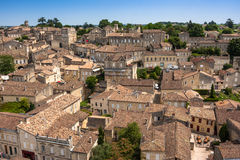 Cityscape view on Saint-Emilion, Gironde, Aquitaine, France. Saint-Emilion - one of the main red wine production areas of Bordeaux region. The town is a UNESCO royalty free stock photos