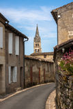 Cityscape view on Saint-Emilion, Gironde, Aquitaine, France. Streets of Saint-Emilion - one of the main red wine production areas of Bordeaux region. The town is royalty free stock photo
