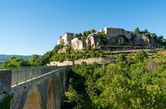 Sault, Vaucluse , Provence France   Village view with The bridge to enter the village. Cityscape view Sault, Vaucluse , Provence France Stock Photos