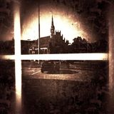 Cityscape view in shop window. Architecture vintage view in the aesthetics of old photographs on the glass. Duotone style. The historic city. Szczecin old town Royalty Free Stock Photography