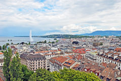 Cityscape View and Shoreline of Lake Geneva, Switzerland Stock Photos