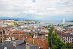 Cityscape View and Shoreline of Lake Geneva, Switzerland Stock Photography
