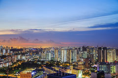 Cityscape of Singapore city at sunset Stock Photos