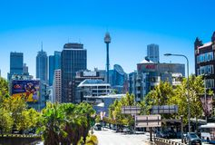 Cityscape view of Sydney with Centrepoint tower in the center of image from William St. Darlinghurst NSW. royalty free stock image