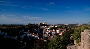 Cityscape view to Obidos old city Portugal stock photo