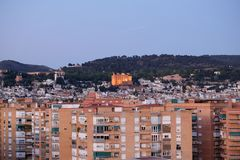 A cityscape view at twilight of Granada in the evening. stock image