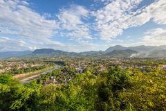 Cityscape from viewpoint at Mount Phousi Stock Photos