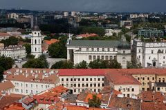 Cityscape of Vilnius with Cathedral Basilica royalty free stock photos