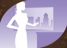 Cityscape Violet. White sihouette of a woman with her hand up in definace - in an office with the cityscape just outside Royalty Free Illustration