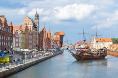 Cityscape on the Vistula River in Gdansk, Poland. Stock Photos