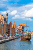 Cityscape on the Vistula River in Gdansk, Poland. Royalty Free Stock Image