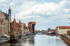 Cityscape on the Vistula River in Gdansk, Poland. Royalty Free Stock Images