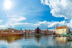 Cityscape on the Vistula River in Gdansk, Poland. Royalty Free Stock Image