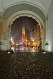 Gdansk, Poland, old city, town at night. EU Royalty Free Stock Image