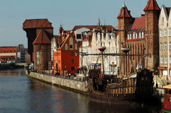 Cityscape on the Vistula River in historic city of Gdansk, Poland. Stock Image