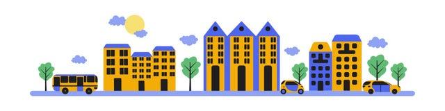 Cityscape Vlakke samenstelling Moderne gebouwen, wolken, bomen, wegen, bussen en auto's op een witte achtergrond royalty-vrije illustratie