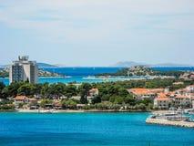 The Vodice cityscape. The cityscape of Vodice resort town, Croatia royalty free stock photo