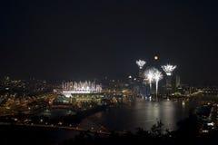 Cityscape Vuurwerk stock fotografie