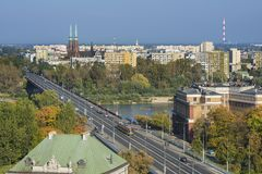 Cityscape of Warsaw, Poland, Slasko-Dabrowski bridge. Royalty Free Stock Images