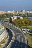 Cityscape of Warsaw, Poland, Slasko-Dabrowski bridge. Royalty Free Stock Photography