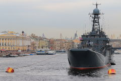 Cityscape with warship Royalty Free Stock Image