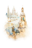 Cityscape watercolor drawing, hand drawn aquarelle painting. Stock Image