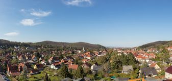 Cityscape of Wernigerode as a panorama with mountains Royalty Free Stock Photography
