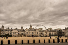 Cityscape with whitehall and the london eye Stock Photography