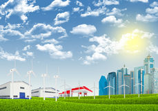 Cityscape with wind petrol station Stock Photography