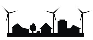 Cityscape, wind power plant,black silhouette Stock Images