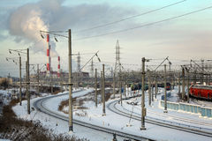 Cityscape in winter industrial railroad Stock Photos