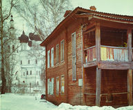 Cityscape in winter old broken house Royalty Free Stock Images