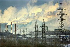 Cityscape in winter sky power circuts Royalty Free Stock Photo