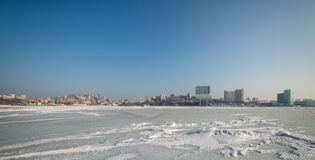 Cityscape, winter. Royalty Free Stock Image