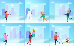 Cityscape and Wintertime Set Vector Illustration. Cityscape and wintertime set, skyscrapers and filling forms, snowman and people doing winter activities Stock Image
