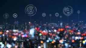 Free Cityscape With Connecting Dot Technology Of Smart City Conceptual Royalty Free Stock Images - 148406239