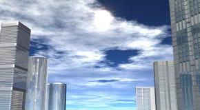 Cityscape, wolkenkrabbers tegen de hemel royalty-vrije stock afbeelding