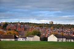 Cityscape of the woodhouse area of leeds in yorkshire england. With houses and streets Royalty Free Stock Photo