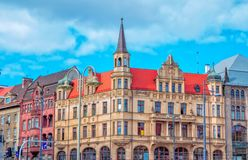 Cityscape of Wroclaw old town, view of Swidnicka street Royalty Free Stock Images