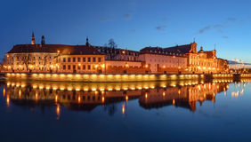 A cityscape of Wroclaw, view from Odra, after sunset. Poland. Royalty Free Stock Photo