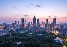 Cityscape of Wuhan city at night.Panoramic skyline and buildings royalty free stock photography