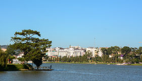 Cityscape with Xuan Huong lake in Dalat, Vietnam Royalty Free Stock Photography