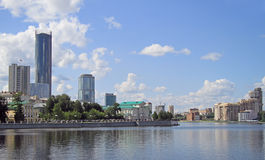 Cityscape of Yekaterinburg, the city pond Royalty Free Stock Photography