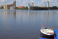 Cityscape of Yekaterinburg, the city pond Stock Photography