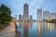 Cityscape of Yokohama city at dawn Royalty Free Stock Images