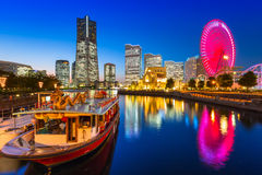 Cityscape of Yokohama city at dusk Stock Image