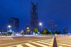 Cityscape of Yokohama city at night. Japan Stock Photos